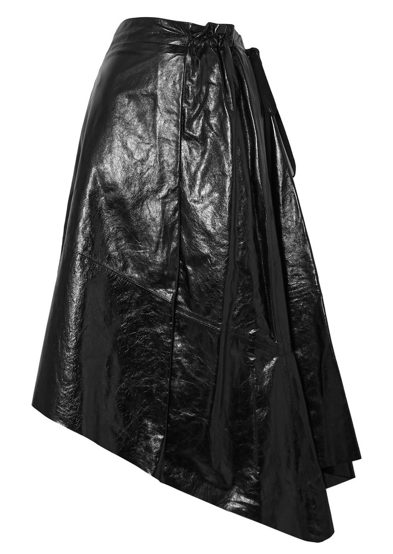 Proenza Schouler Asymmetric Glossed-leather Midi Skirt