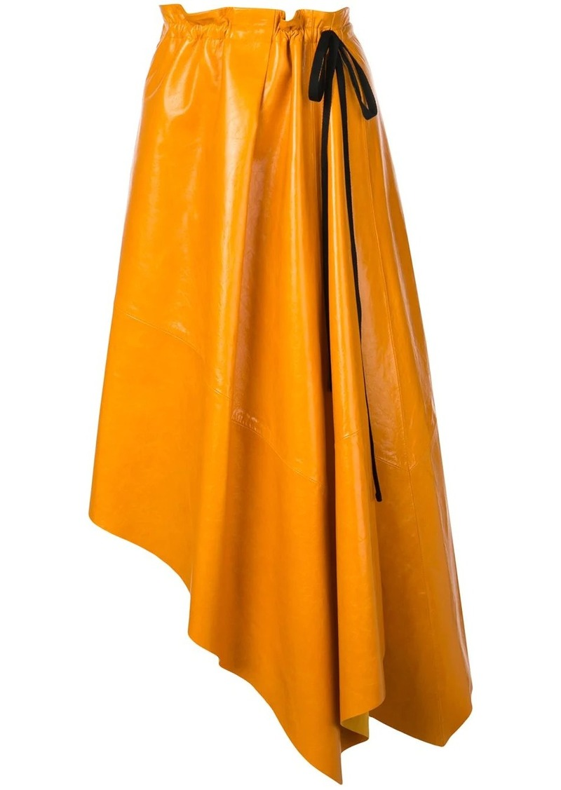 Proenza Schouler Asymmetrical Shiny Leather Mid Skirt