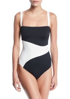Proenza Schouler Bandeau Colorblocked One-Piece Swimsuit