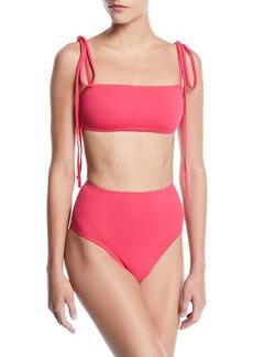 Proenza Schouler Bandeau Tie-Straps High-Waist Two-Piece Bikini Swim Set