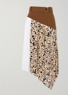 Proenza Schouler Belted Asymmetric Paneled Crepe Midi Skirt