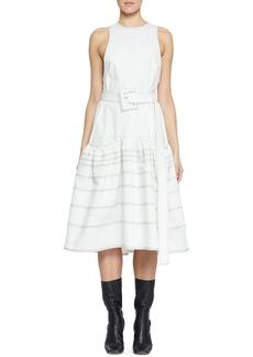 Proenza Schouler Belted Drop-Waist Cotton Dress with Pockets