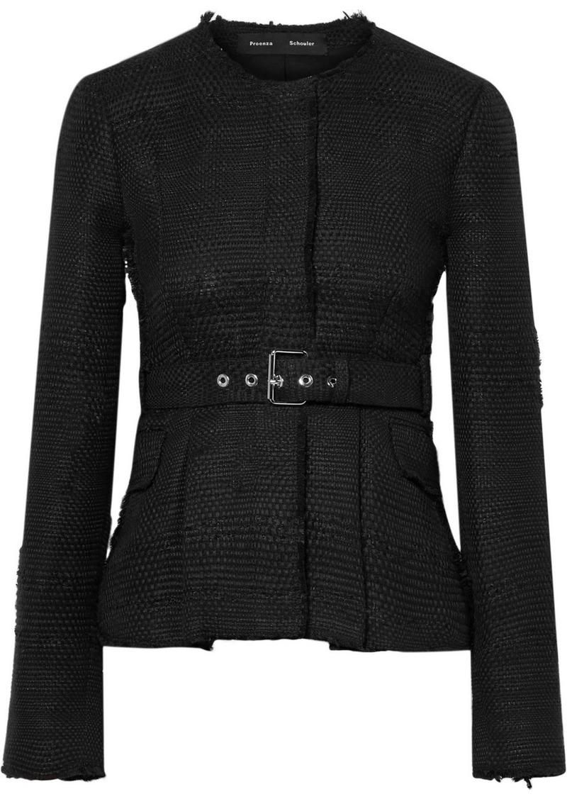 Proenza Schouler Belted Frayed Tweed Jacket