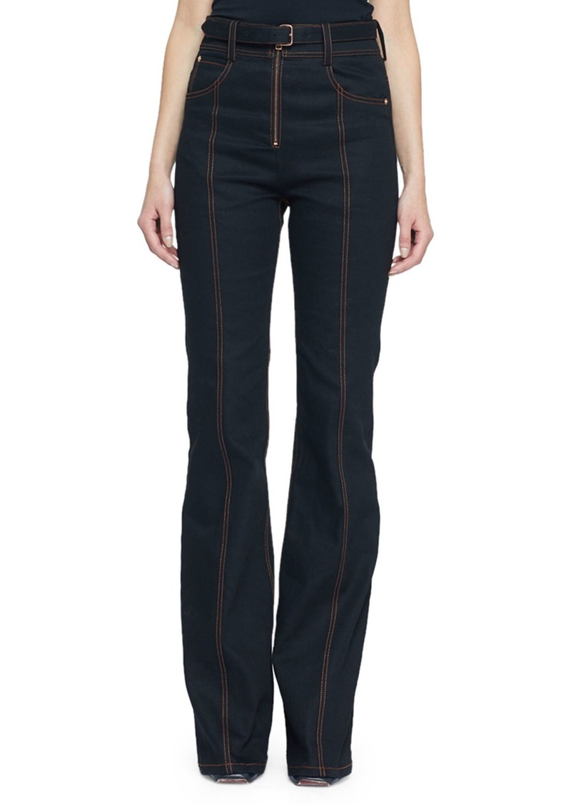Proenza Schouler Belted Stretch Denim Suiting Pants