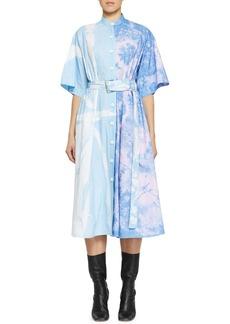 Proenza Schouler Belted Tie-Dye Cotton Midi Dress