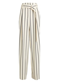 Proenza Schouler Belted Wide Leg Striped Pants