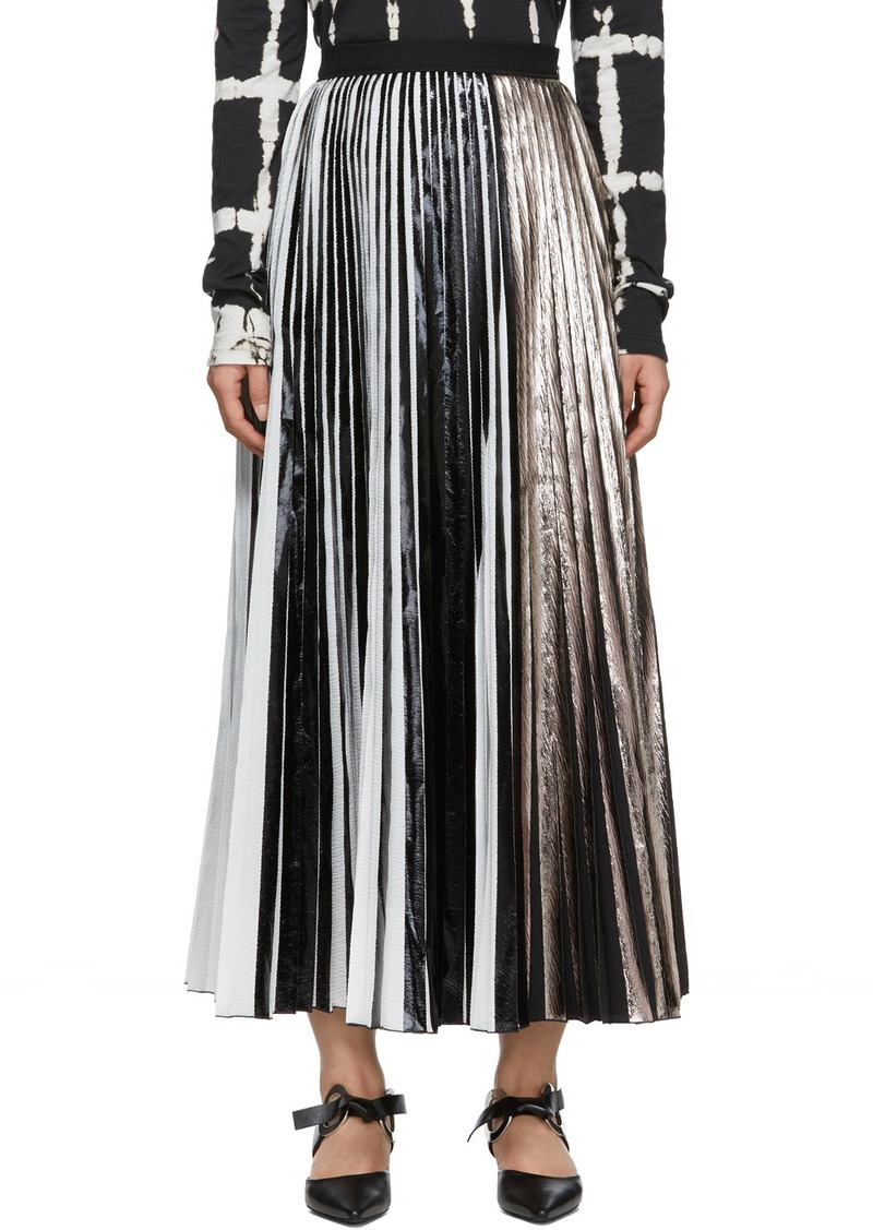 Proenza Schouler Black & Silver Foil Pleated Skirt