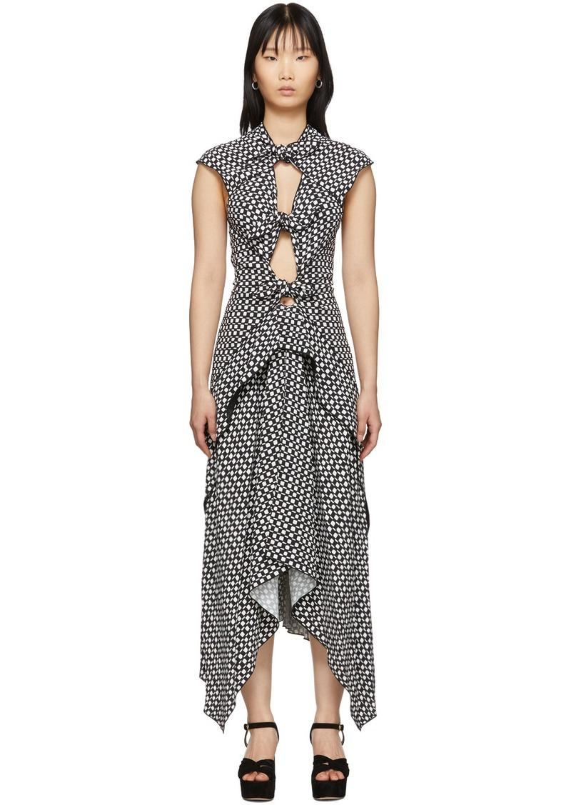 Proenza Schouler Black & White Checkered Tie Dress