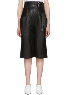 Proenza Schouler Black Leather Belted Shorts