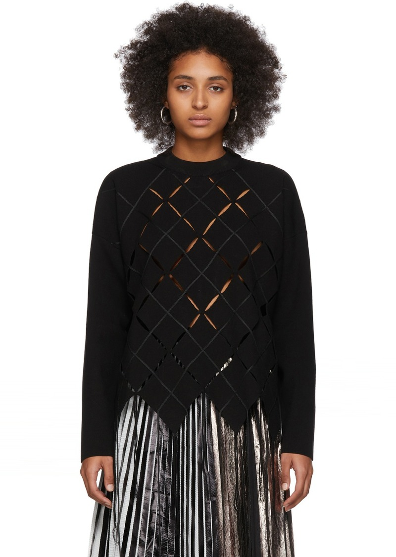 Proenza Schouler Black Open Argyle Knit Sweater