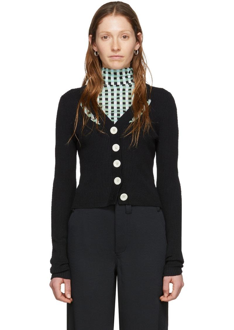 Proenza Schouler Black Silk Fine Gauge Rib Cropped Cardigan