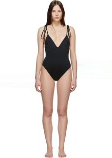 Proenza Schouler Black V-Neck One-Piece Swimsuit