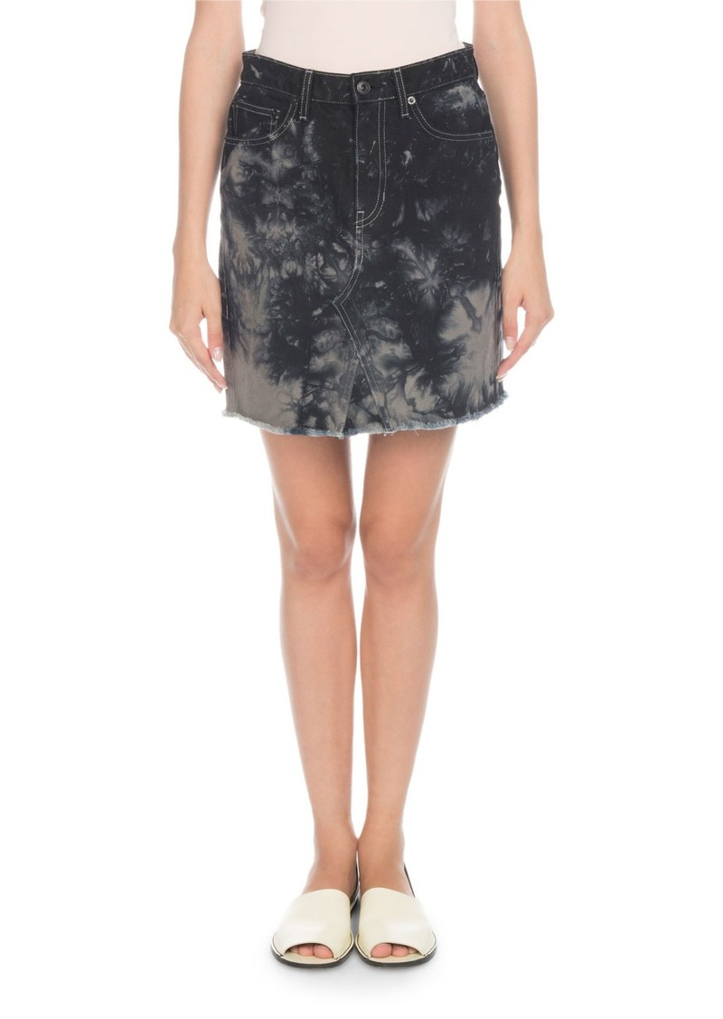 Proenza Schouler Bleached Denim Mini Skirt with Frayed Hem