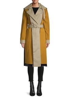 Proenza Schouler Bonded Cotton Reversible Colorblock Trench Coat