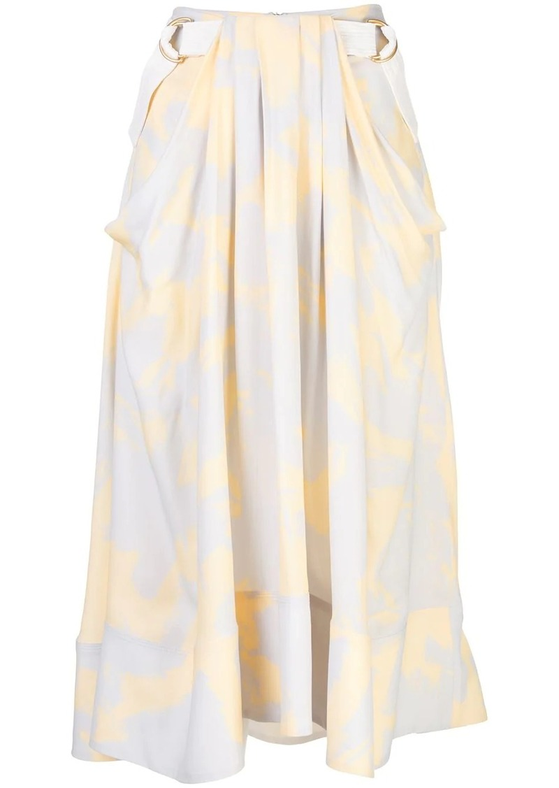 Proenza Schouler Brush Printed Belted Midi Skirt