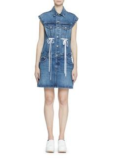 Proenza Schouler Button-Down Sleeveless Rigid Denim Dress w/ Drawstring Detail