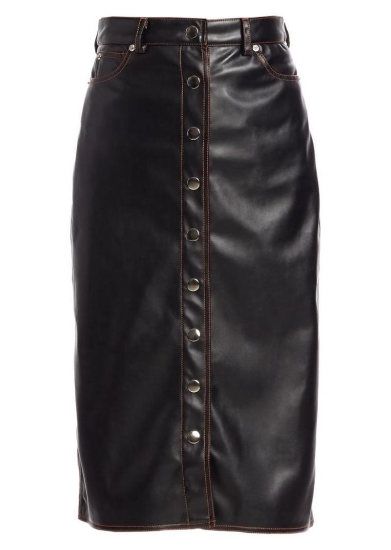 Proenza Schouler Button-Front Faux Leather Midi Skirt