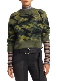 Proenza Schouler Camo Jacquard Knit Crewneck Sweater