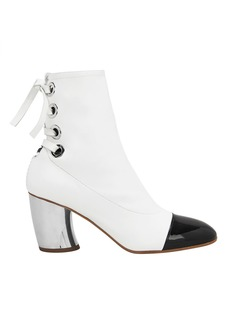 Proenza Schouler Cap Toe Silver Heel White Booties