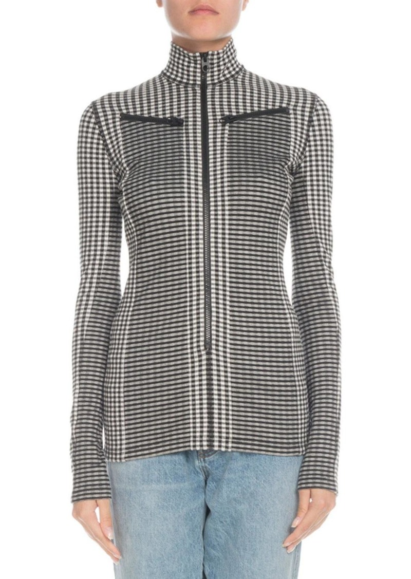 Proenza Schouler Check Turtleneck Zip-Front Top