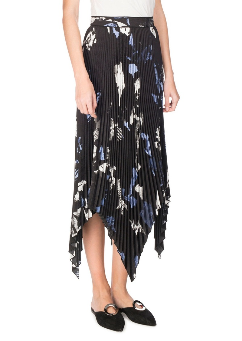 Proenza Schouler Collage Pleated Handkerchief-Hem Midi Skirt  Black/Pale Blue/White