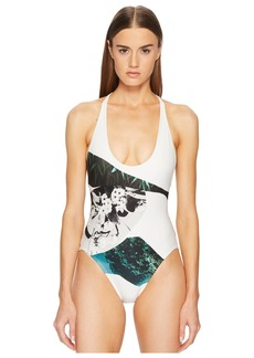 Proenza Schouler Collage Strappy Cross-Back One-Piece