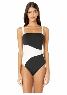 Proenza Schouler Color Block Bandeau One-Piece