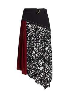 Proenza Schouler Colorblock Floral Pleated Asymmetric Skirt