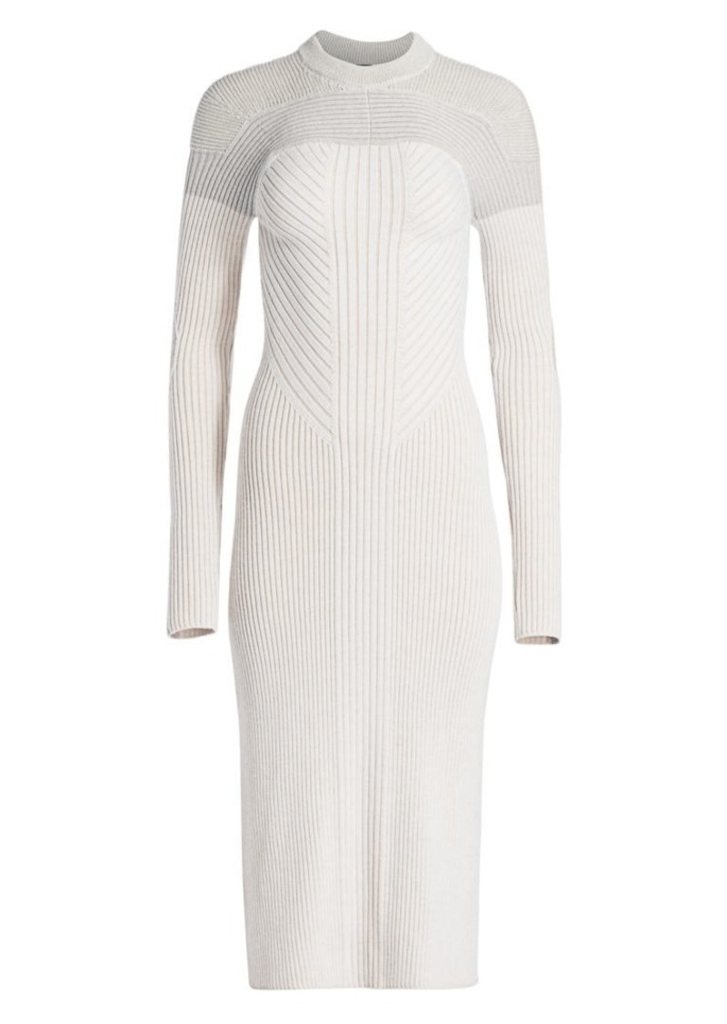 Proenza Schouler Colorblock Ribbed Wool Dress