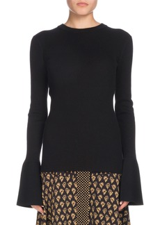 Proenza Schouler Crewneck Long-Sleeve Bell-Cuff Fine-Gauge Sweater