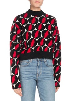 Proenza Schouler Crewneck Long-Sleeve Lightning-Bolt Pullover Sweater
