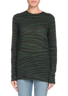 Proenza Schouler Crewneck Long-Sleeve Tiger-Print Top