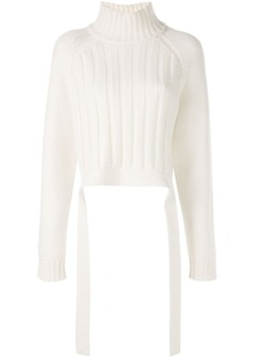 Proenza Schouler Cropped Wool Cashmere Turtleneck Knit Top