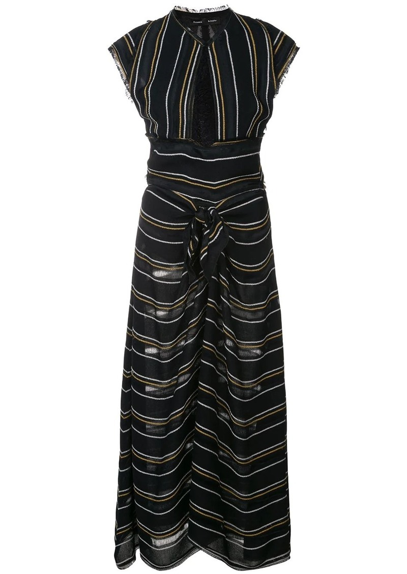 Proenza Schouler Crêpe Striped Tied Dress