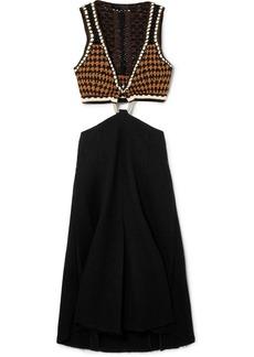 Proenza Schouler Cutout Crochet-knit And Bouclé Midi Dress