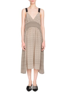 Proenza Schouler Deep-V Sleeveless Mixed-Print Silk Midi Dress