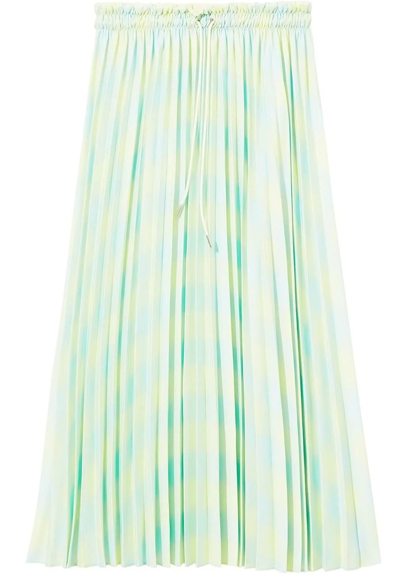 Proenza Schouler Diffused Gingham Georgette Pleated Skirt