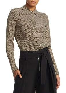 Proenza Schouler Dotted Silk Button-Down Blouse