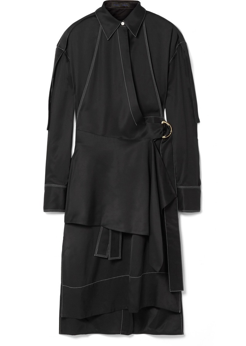 Proenza Schouler Draped Belted Gabardine Dress