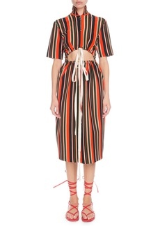 Proenza Schouler Drawstring Cutout-Waist Short-Sleeve Stripe-Knit Midi Dress