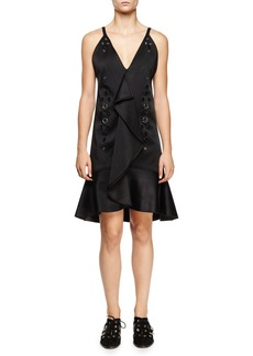 Proenza Schouler Eyelet-Embellished Ruffle-Front Dress  Black