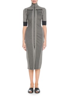 Proenza Schouler Fitted Check 3/4-Sleeve Zip-front Dress
