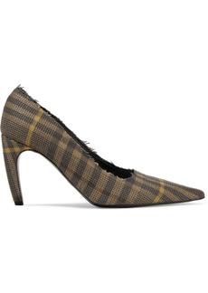 Proenza Schouler Frayed Checked Wool And Linen-blend Pumps
