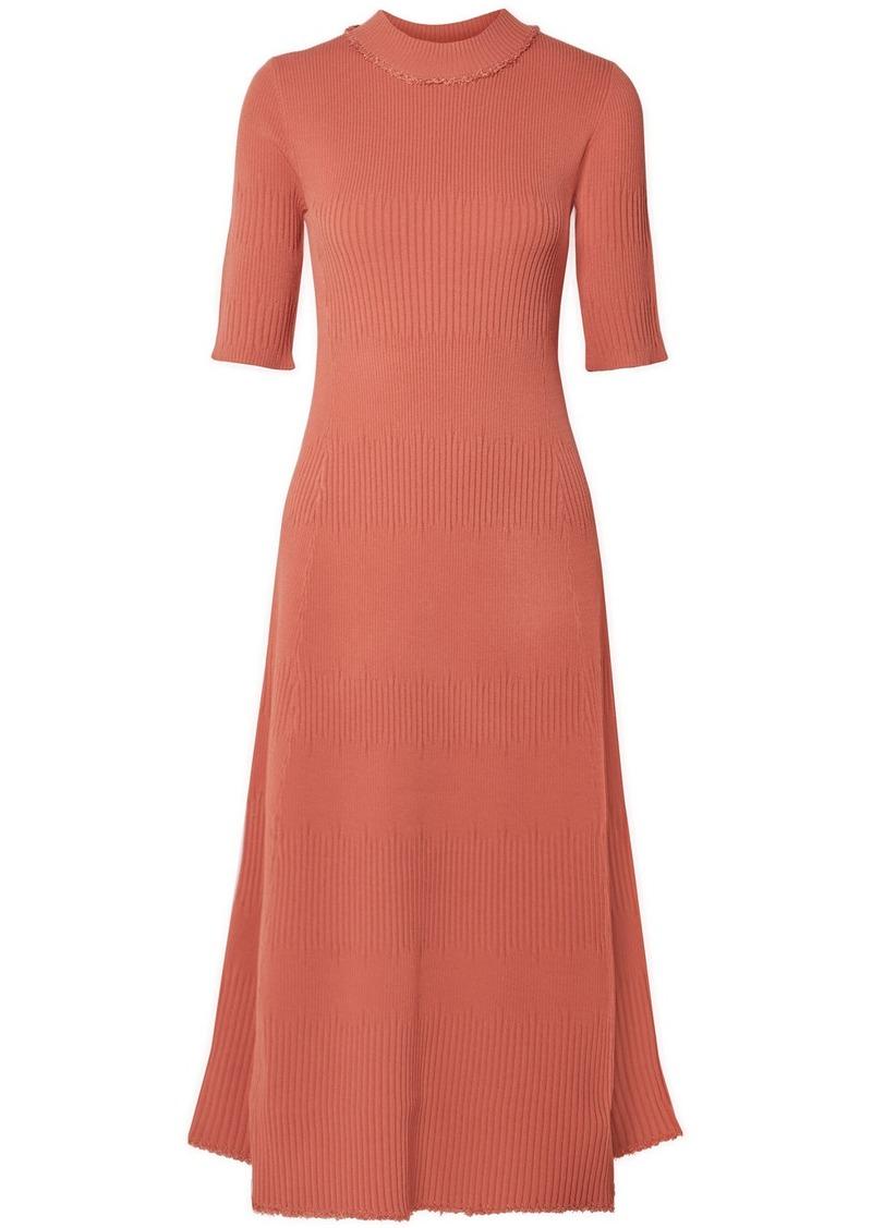 Proenza Schouler Frayed Ribbed-knit Midi Dress