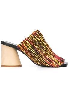 Proenza Schouler Fringe Wood Heel Slides