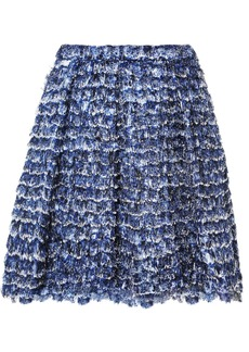 Proenza Schouler Fringed Printed Crepe Mini Skirt