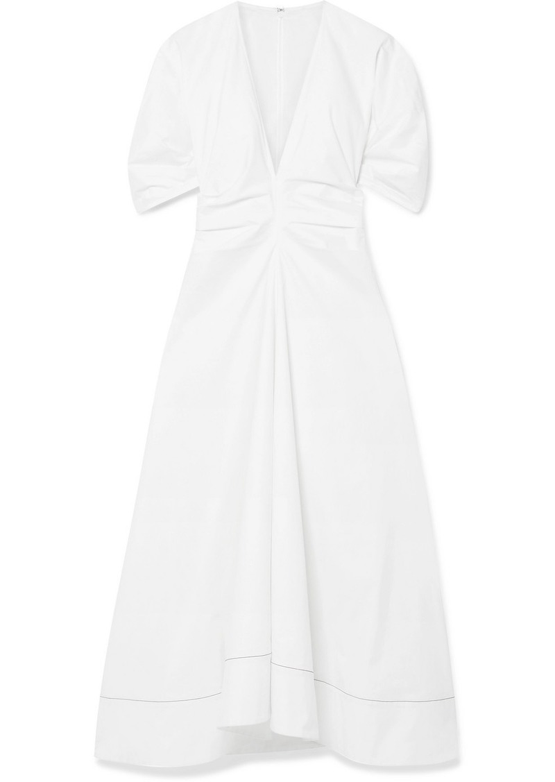 Proenza Schouler Gathered Stretch-cotton Poplin Midi Dress