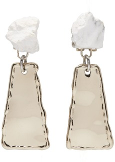 Proenza Schouler Gold & White Small Hammered Dangle Earrings