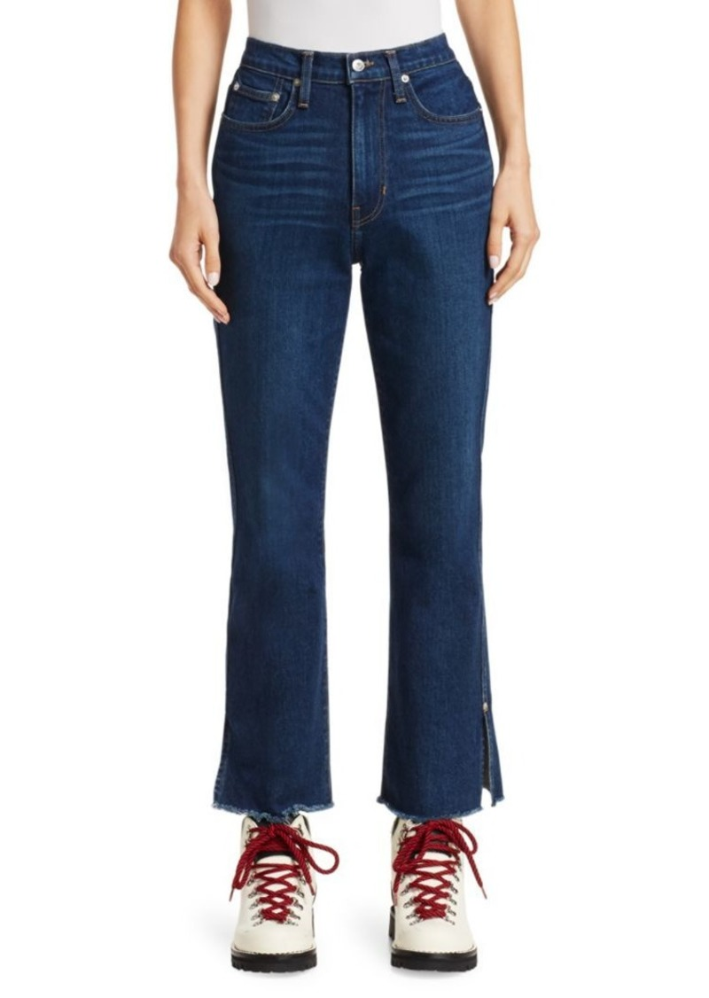 Proenza Schouler High-Rise Cropped Distressed Hem Jeans
