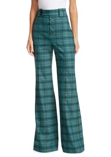 Proenza Schouler High-Rise Plaid Wool Trousers